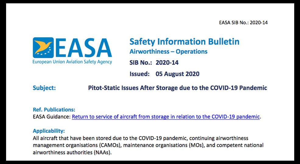EASA publica el boletín de información de seguridad SIB 2020-14 en relación con aeronaves almacenadas debido a la pandemia COVID-19