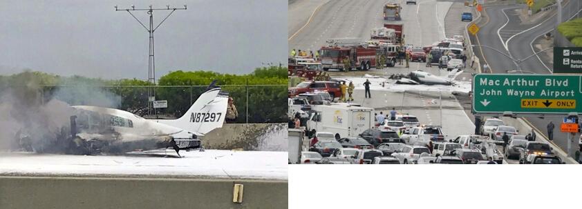 ¡Perdí el motor derecho! ¡Auxilio, auxilio! la dramática llamada del piloto que se estrelló en la autopista 405 en California