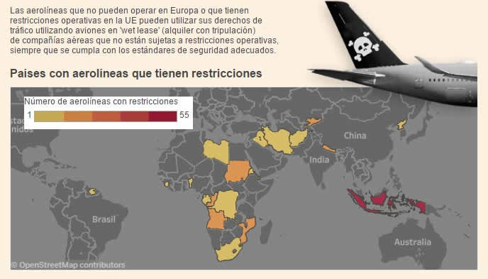 Países con aerolineas que tienen resticciones